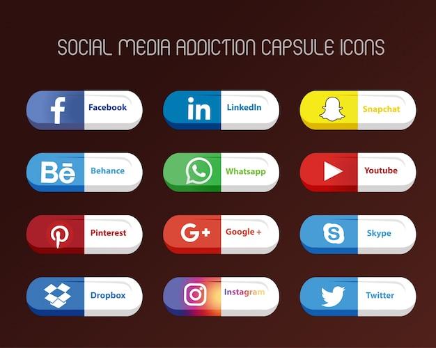 Iconos con forma de cápsula de redes sociales