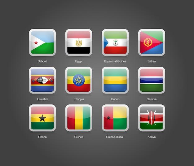 Iconos de forma redonda cuadrados brillantes 3d para banderas de países de áfrica