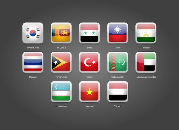 Iconos de forma redonda cuadrados brillantes 3d para banderas de países asiáticos
