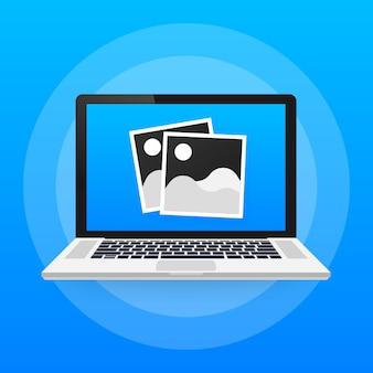 Iconos de fotos, marcos de fotos, icono plano de fotos retro, marcos de fotos en blanco vintage en la computadora portátil.