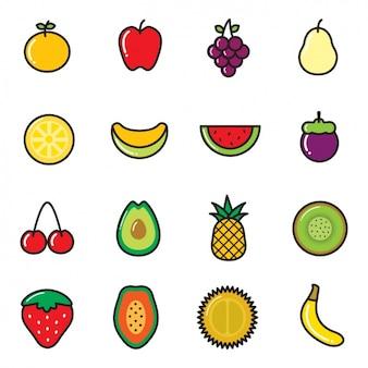 Iconos de fruta a color
