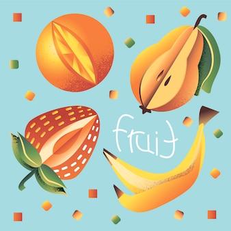 Iconos de frutas en azul