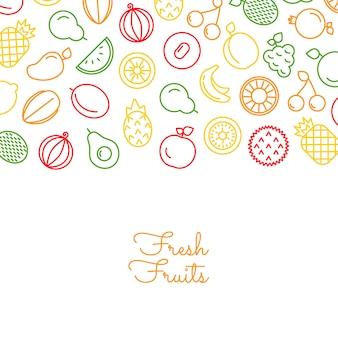 Iconos de frutas de línea con lugar para ilustración de texto