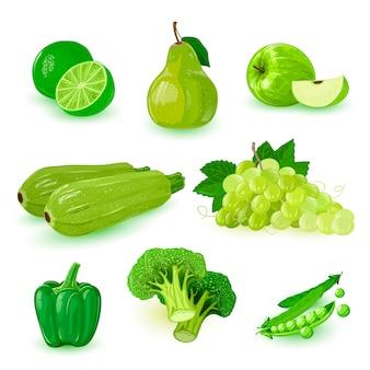 Iconos de frutas maduras verdes