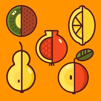 Iconos de frutas en naranja