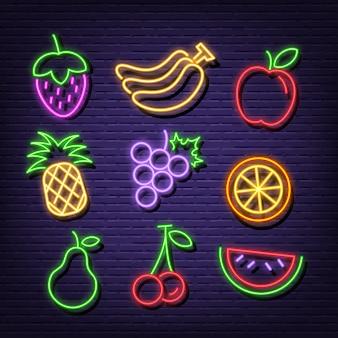 Iconos de frutas de neón