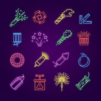 Iconos de fuegos artificiales. dinamita del festival de neón, letrero de fuegos artificiales de fiesta led