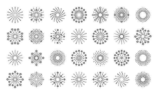 Iconos de fuegos artificiales para la ilustración de explosión de brillo