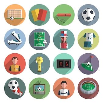 Iconos de fútbol conjunto plano
