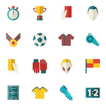 Iconos de futbol planos