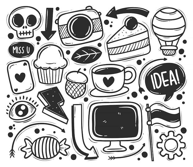 Iconos garabato abstracto dibujado mano doodle para colorear