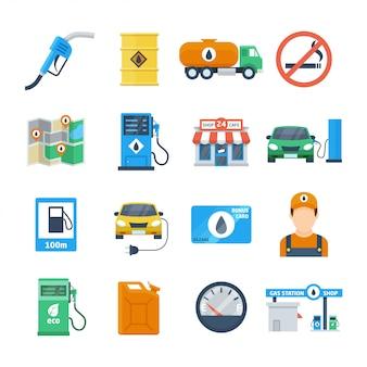 Iconos de gasolineras en un estilo plano