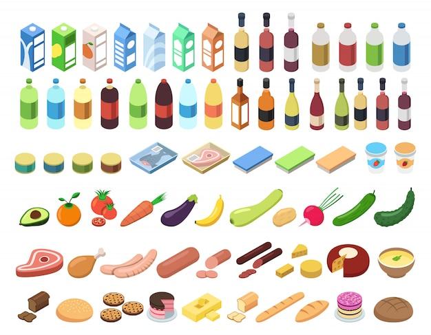 Iconos de gastronomía en isométrica estilo 3d.
