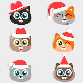 Iconos de gatos divertidos dibujos animados con sombreros de navidad