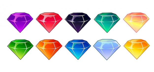 Iconos de gemas y diamantes en diferentes colores.
