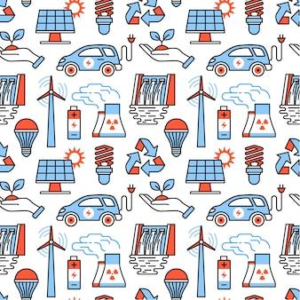 Iconos de generación de energía y energía ecológica