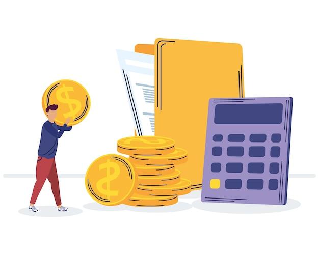 Iconos de gestión de ahorro y hombre