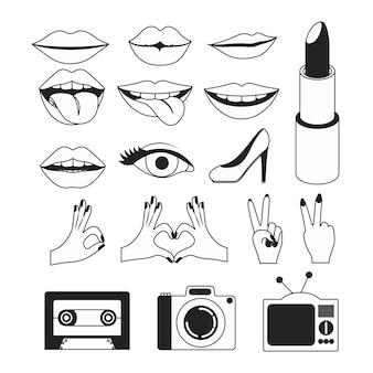 Iconos de gestos y elementos de arte pop en fondo blanco