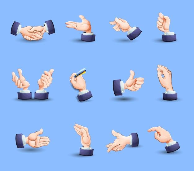 Iconos de gestos de manos fijados planos