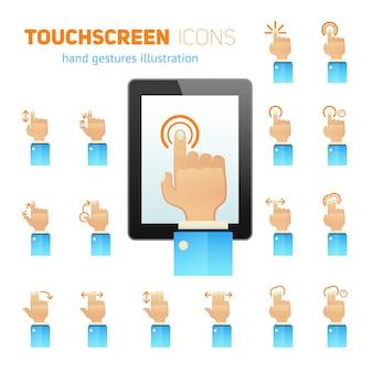 Iconos de gestos de pantalla táctil