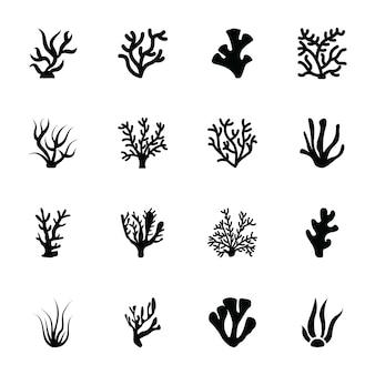 Iconos de glifo de algas