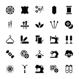 Iconos de glifo de costura