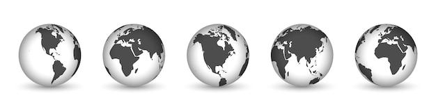 Iconos de globo terráqueo con continentes diferentes