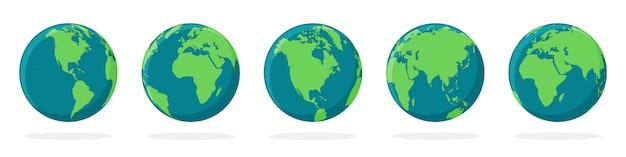Iconos de globo terráqueo con diferentes continentes.