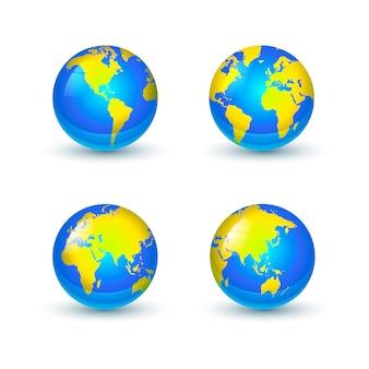 Iconos de globos de tierra brillante brillante de diferentes lados sobre fondo blanco.