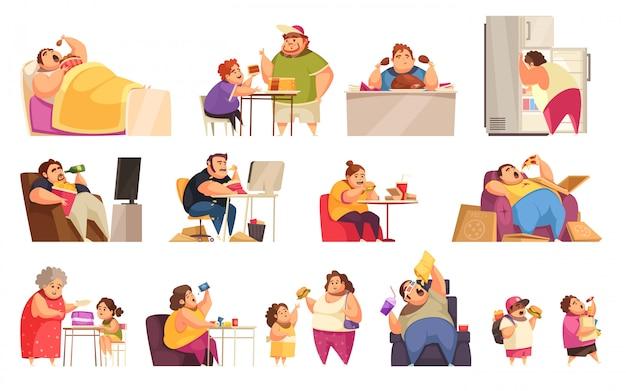 Iconos de glotonería con símbolos obsesivos de comer plano aislado