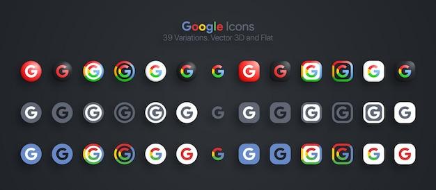 Iconos de google establecidos en 3d moderno y plano en diferentes variaciones