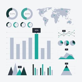 Iconos de gráfico y gráfico de análisis de datos