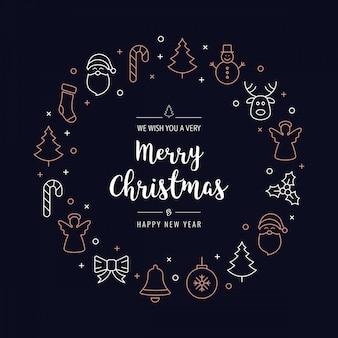Iconos de la guirnalda del saludo de navidad