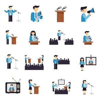 Iconos de hablar en público plana
