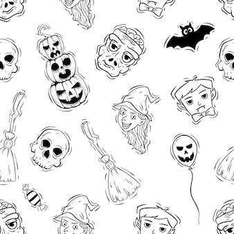 Iconos de halloween espeluznantes o elementos en patrones sin fisuras