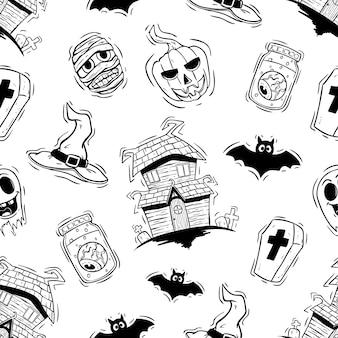 Iconos de halloween scarry en patrones sin fisuras con estilo dibujado a mano