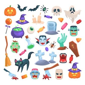 Iconos de halloween. vela festiva divertida, zombi, caldero de bruja y escoba, hacha y araña, calabaza con sombrero, fantasma espeluznante, tumba y murciélago, truco de magia de calavera o juego aislado de dibujos animados de vector plano de fiesta