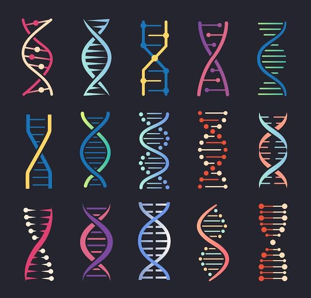 Iconos de hélice de adn estructura de molécula en espiral de genes código genético humano conjunto de logotipo de cadena de cromosomas