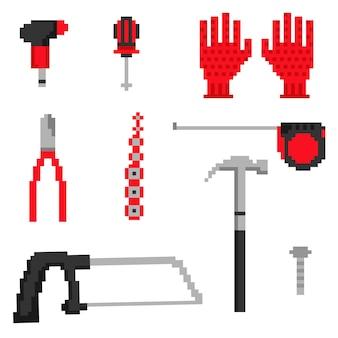 Iconos de herramientas de carpintero de píxeles en vector