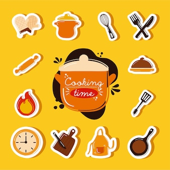 Iconos de herramientas de cocina y letras