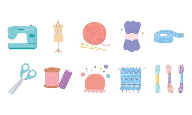 Iconos de herramientas de costura, cinta métrica, tijeras, botones de madejas de hilo y alfileres ilustración