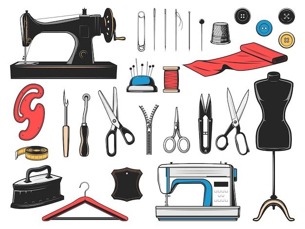Iconos de herramientas de costura con equipo de sastre, modista y diseñador de moda