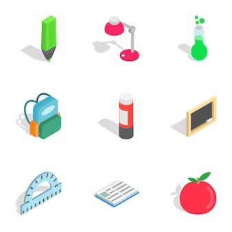 Iconos de herramientas escolares, isométrica estilo 3d
