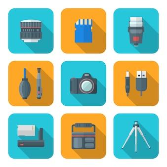 Iconos de herramientas de fotografía digital cuadrado de estilo plano de color