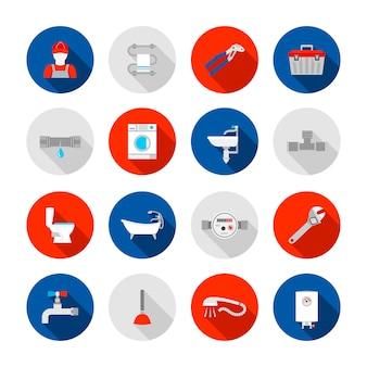 Los iconos de las herramientas de instalación del desagüe de la bañera y del fregadero del servicio de la fontanería fijaron la ilustración aislada sólida abstracta del vector
