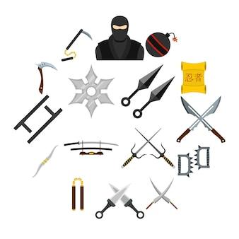 Iconos de herramientas ninja en estilo plano