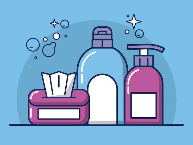 Iconos de herramientas y productos de limpieza