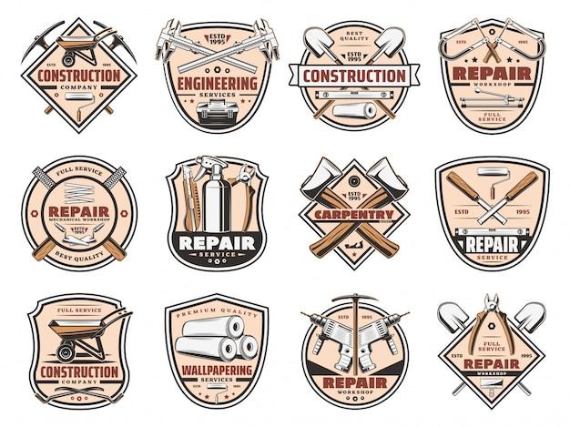 Iconos de herramientas de trabajo de construcción de reparación de viviendas