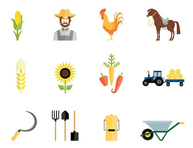 Iconos de herramientas de trabajo y granjero, gallo, caballo y verduras