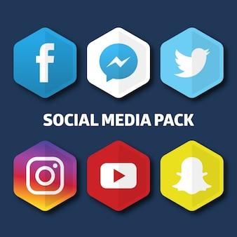 Iconos hexagonales para redes sociales